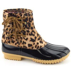 NEW Leopard Side Lace Waterproof Rubber Duck Boots